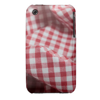 Red and White Gingham Fabric iPhone 3 Case-Mate Cases