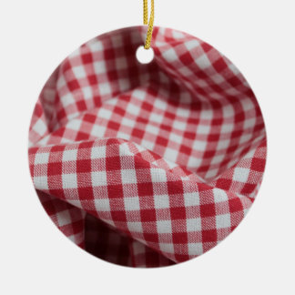 Red and White Gingham Fabric Double-Sided Ceramic Round Christmas Ornament