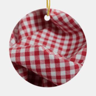 Red and White Gingham Fabric Round Ceramic Decoration