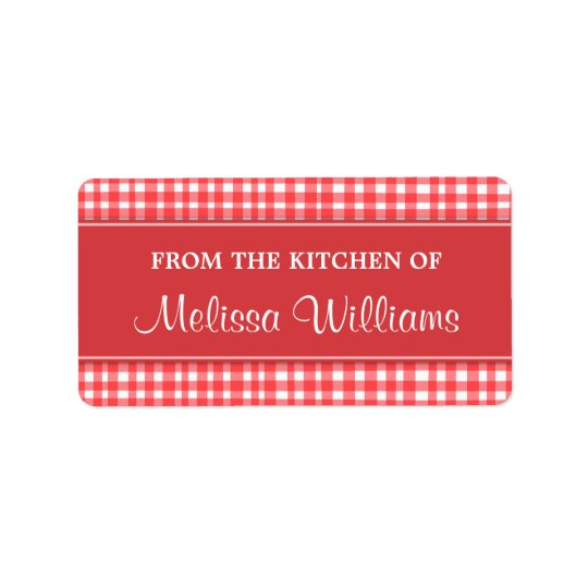 Red and white gingham from the kitchen of labels