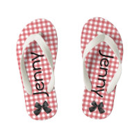 Red and White Gingham Girls Flip Flops