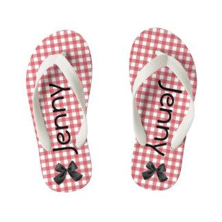 Red and White Gingham Girls Flip Flops