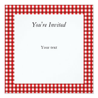 Red and White Gingham Pattern 13 Cm X 13 Cm Square Invitation Card