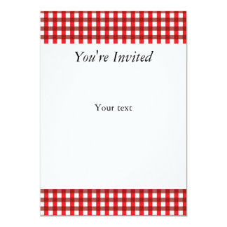 Red and White Gingham Pattern 13 Cm X 18 Cm Invitation Card