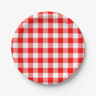 Red and White Gingham Pattern 7 Inch Paper Plate