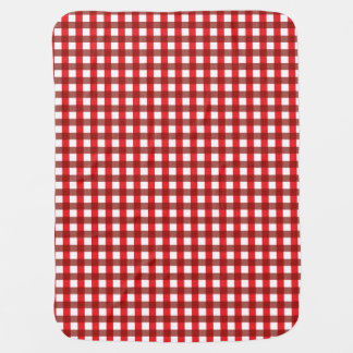 Red and White Gingham Pattern Baby Blankets