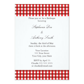 Red and White Gingham Pattern Barbeque Card