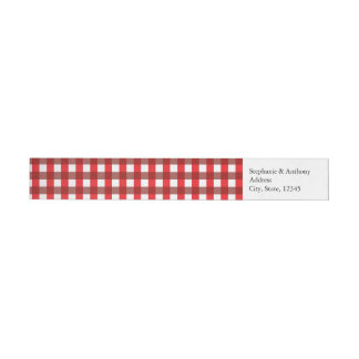 Red and White Gingham Pattern Barbeque Wedding Wrap Around Label