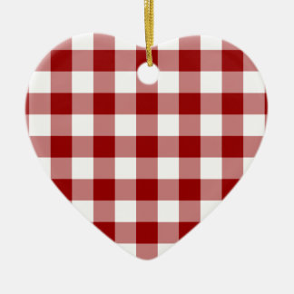 Red and White Gingham Pattern Ceramic Heart Decoration