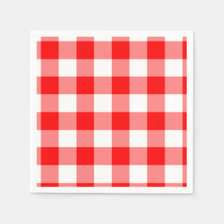 Red and White Gingham Pattern Disposable Serviettes