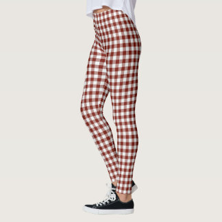 Red and White Gingham Pattern Leggings