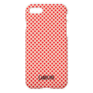 Red and White Gingham Pattern Personalized Name iPhone 8/7 Case