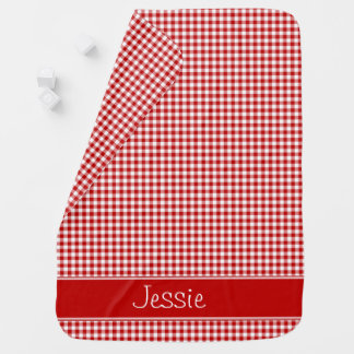 Red and White Gingham   Personalized Baby Blanket