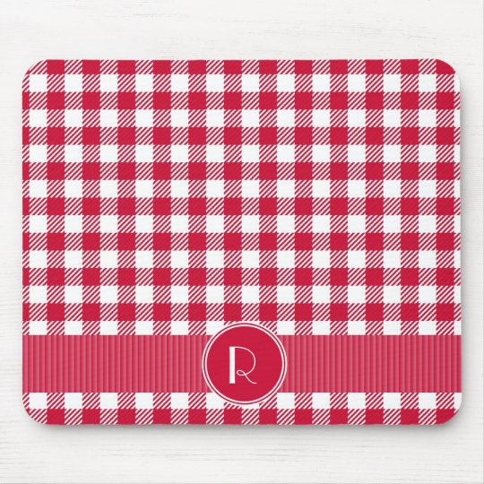 Red And White Gingham Plaid Pattern Personalised Mouse Mat