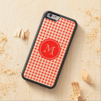 Red and White Gingham, Your Monogram Carved® Maple iPhone 6 Bumper