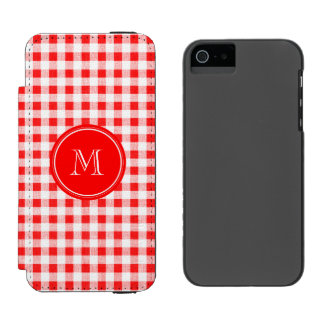 Red and White Gingham, Your Monogram Incipio Watson™ iPhone 5 Wallet Case