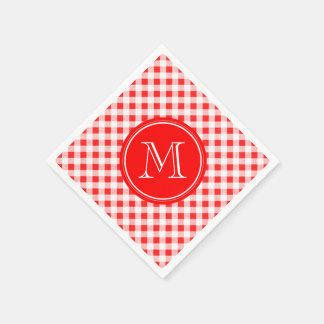 Red and White Gingham, Your Monogram Paper Serviettes