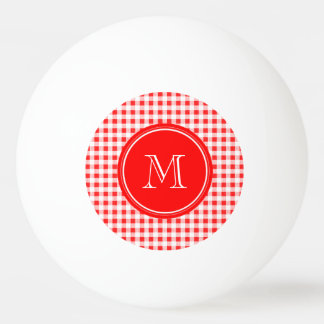 Red and White Gingham Your Monogram Ping-Pong Ball