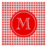 Red and White Gingham, Your Monogram Posters