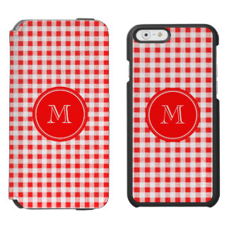 Red and White Gingham, Your Monogram Incipio Watson™ iPhone 6 Wallet Case