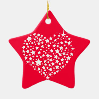 Red And White Glitter Heart Christmas Ornament
