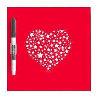 Red And White Glitter Heart Dry Erase Board