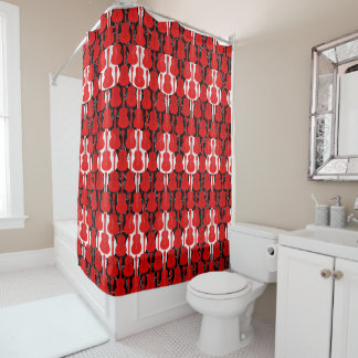 Red And White Guitars Shower Curtain