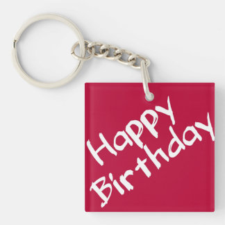 Red and White Happy Birthday Double-Sided Square Acrylic Key Ring
