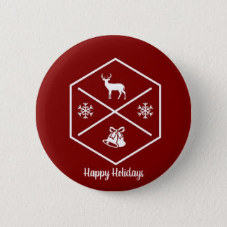 Red And White Happy Holidays 6 Cm Round Badge