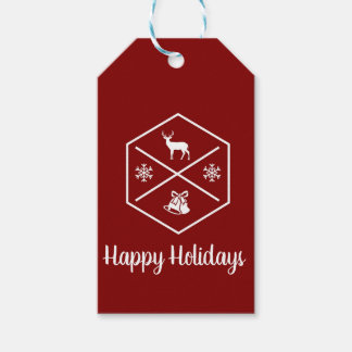 Red And White Happy Holidays Gift Tags