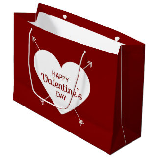 Red And White Happy Valentine's Day Heart Large Gift Bag