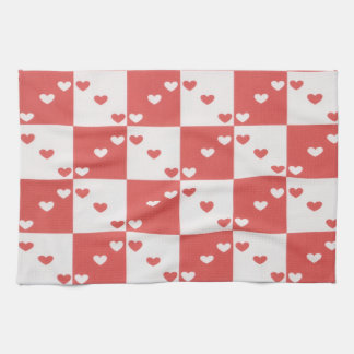Red and white heart kitchen towels