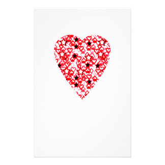 Red and White Heart. Patterned Heart Design. Custom Flyer