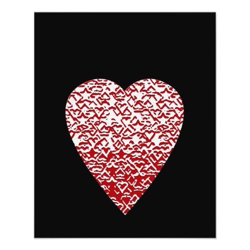 Red and White Heart. Patterned Heart Design. Custom Flyer