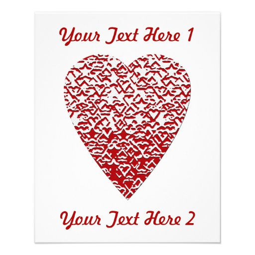 Red and White Heart. Patterned Heart Design. Full Color Flyer