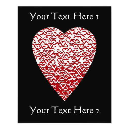 Red and White Heart. Patterned Heart Design. Personalized Flyer