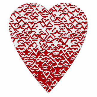 Red and White Heart. Patterned Heart Design. Standing Photo Sculpture