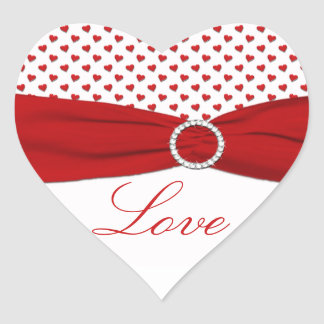 """Red and White Hearts """"Love"""" - Heart Shaped Sticker"""