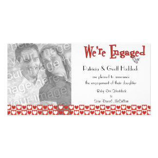 Red And White Hearts Photo Engagement Announcement Photo Cards