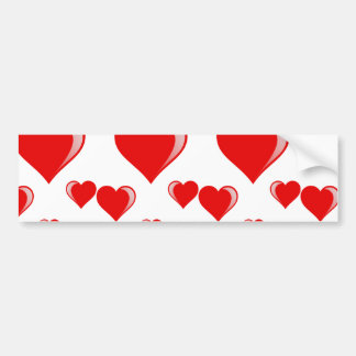 Red and White Hearts Valentine's Day Pattern Bumper Stickers