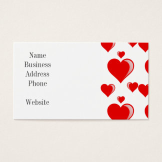 Red and White Hearts Valentine's Day Pattern Business Card