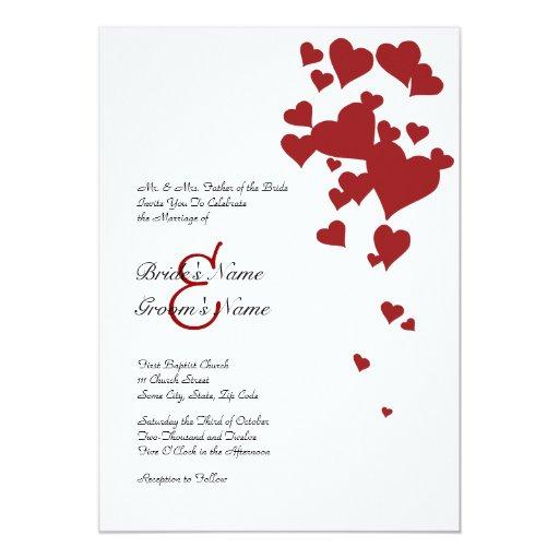 red and white hearts wedding invitation zazzle With red and white wedding invitations uk