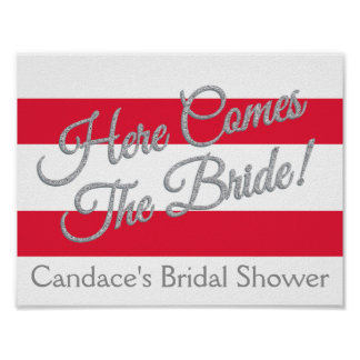 Red and White Here Comes the Bride Poster