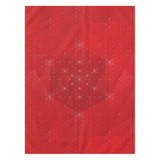 Red and White Hexagon Geometric Pattern Tablecloth