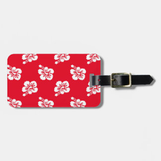 Red and White Hibiscus Floral Luggage Tag