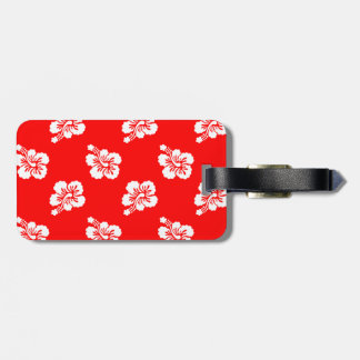 Red and White Hibiscus Hawaiian Pattern Luggage Tag