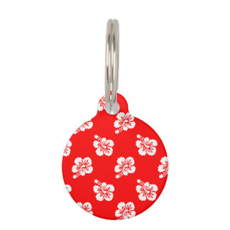 Red and White Hibiscus Hawaiian Pattern Pet Tag