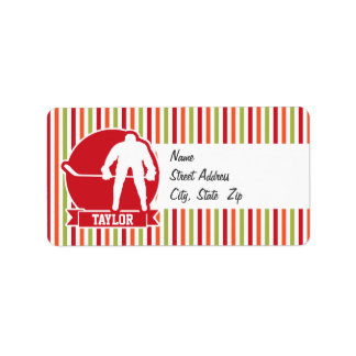 Red and White Hockey Player, Red, Orange, Green Address Label