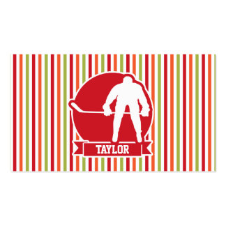 Red and White Hockey Player, Red, Orange, Green Pack Of Standard Business Cards