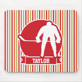 Red and White Hockey Player, Red, Orange, Green Mousepad